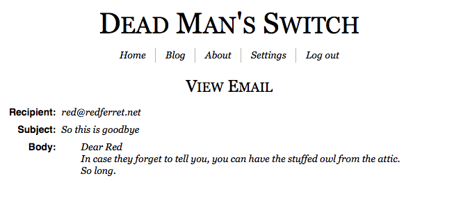 Dead Man's Switch – send email from the afterlife