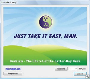 duderelaxationreminder thumb Dudeism Relaxation Reminder   freeware aims to make life more chilled, brah