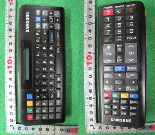 Samsung remote features a QWERTY keyboard on the flip side