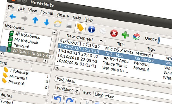 Nevernote lets you sync Evernote on your Linux computer
