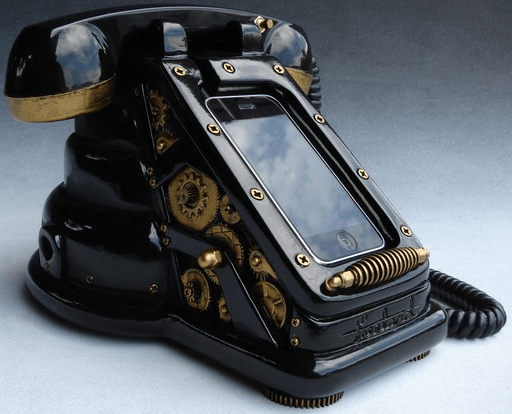 iretrofonesteampunk iRetrofone Steampunk   iPhone dock provides the ultimate in cool for your desktop
