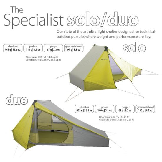 Specialist Solo tent weighs just over a pound