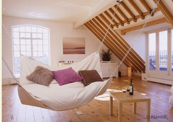 Le Beanock is the offspring of a hammock and bean bag