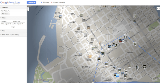 Google Hotel Finder gives you an interactive map of hotels to choose from