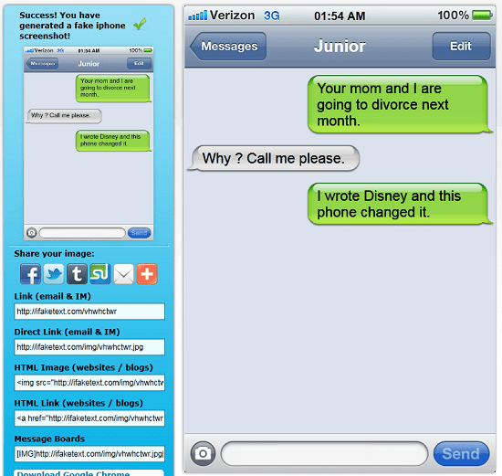 ifaketext Make your own fake text screenshots with ifaketext