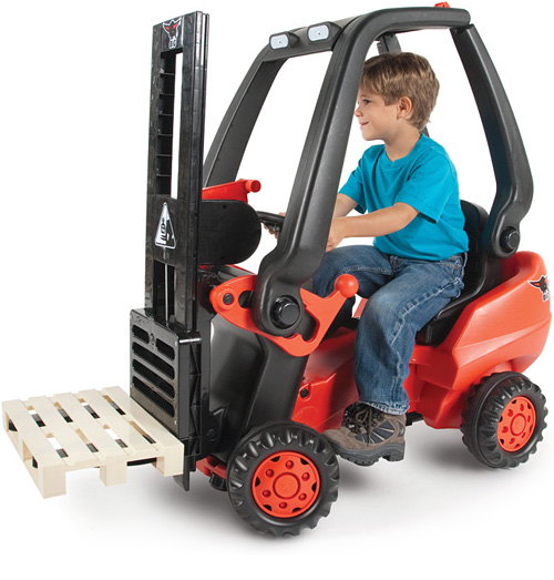 Pedal Powered Forklift makes cleaning fun