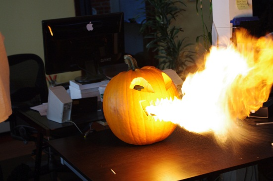 Scare off trick-or-treaters with a DIY Flamethrowing Jack-O'-Lantern