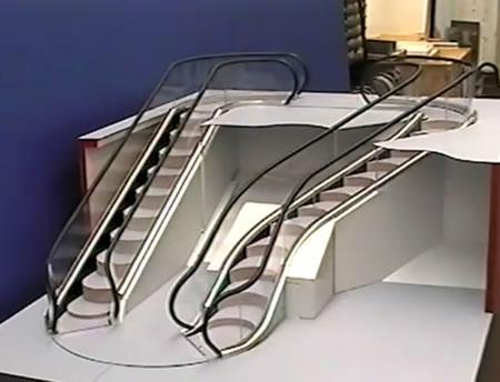 An escalator that curves