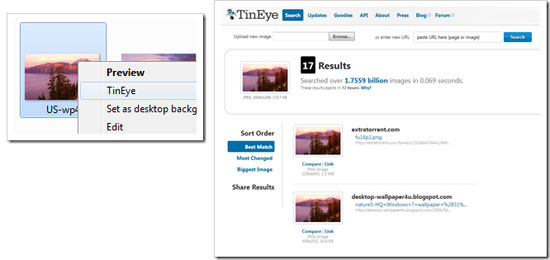 Conduct TinEye searches from your desktop