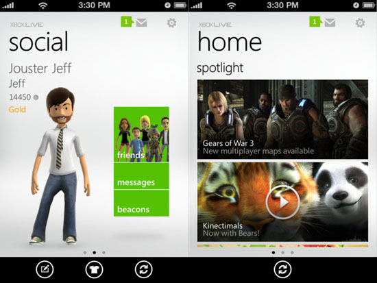 Access Xbox Live from your iPhone, and control your 360 from your Windows phone