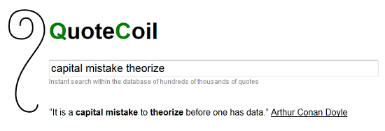 QuoteCoil tries to make finding quotes an easy task