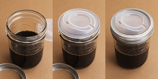 Cuppow Transformer Top turns a canning jar into a coffee cup