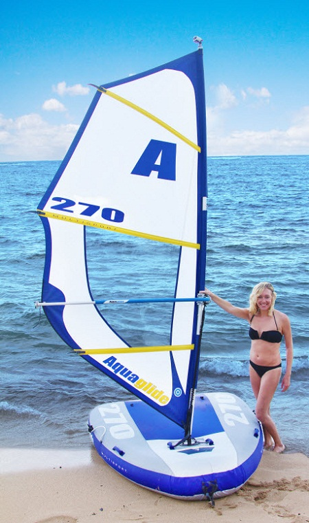 Inflatable Windsurfer and Sailboat is exactly what you think it is