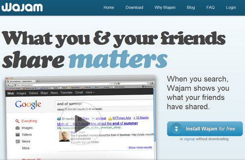 wamjam small Wajam turbo charges your web searches with social network results