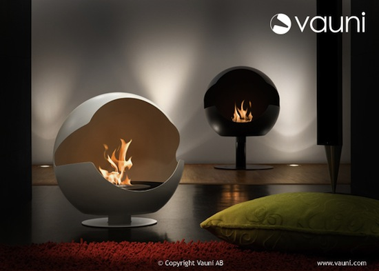 Globe Designer Ethanol Fireplace burns safely and looks snazzy