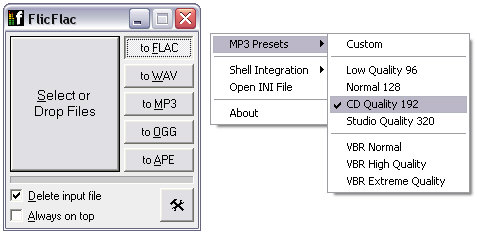 flicflac FlicFlac Audio Converter   tiny program quickly converts your audio files [Freeware]
