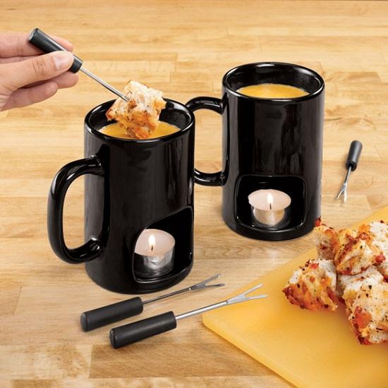 Personal Fondue Mugs make a party favorite fun-sized