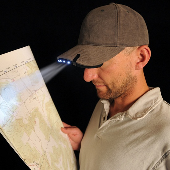 BrimLit LED Hat Light is a flashlight that you hold with your head