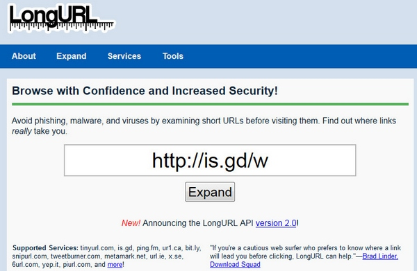 Long URL – check that short URL before you click through and rest easy