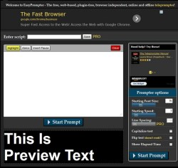 EasyPrompter – free online teleprompter service turns your computer or tablet into a pro video accessory