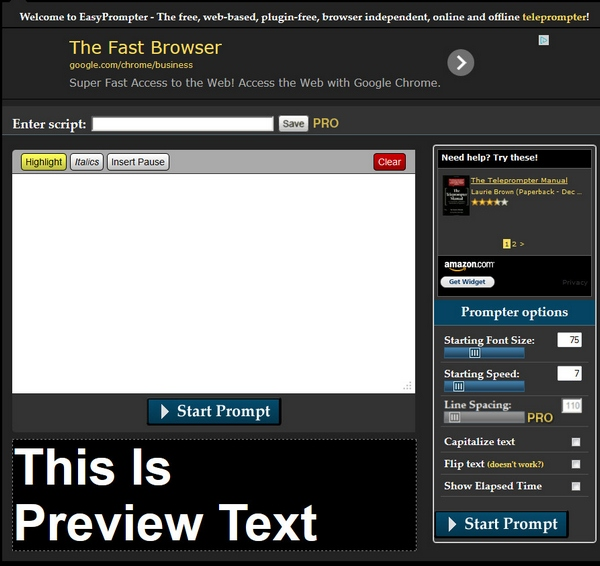 easyprompter EasyPrompter   free online teleprompter service turns your computer or tablet into a pro video accessory