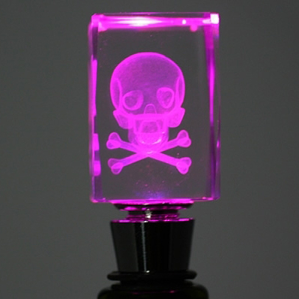 Light-Up Skull Bottle Stopper - skull and crossbones; not just for poison anymore