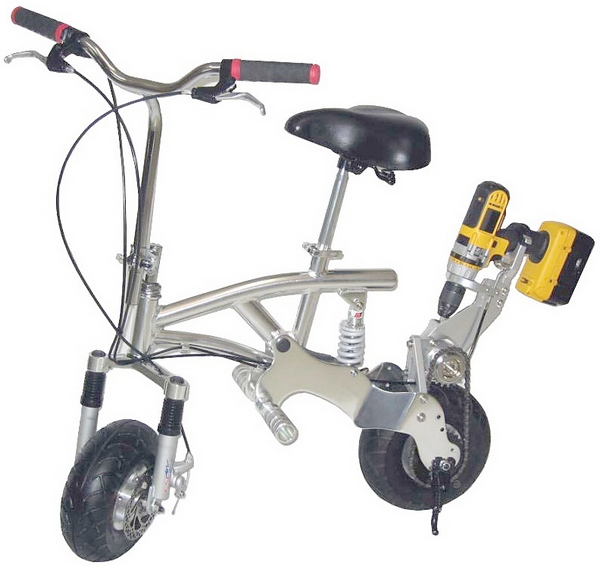DPX Drill Powered Bike – for an instant electric bike, just add your cordless drill