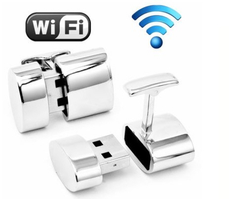 Men's Silver WiFi Hotspot 2GB Flash Drive Cufflinks – because you can never be too prepared, can you…?