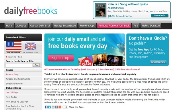 Daily Free Books – free Kindle ebooks delivered to your email inbox every day [Freeware]