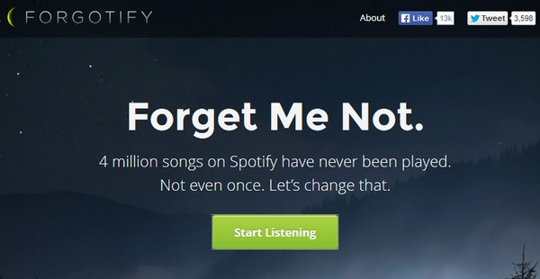 Forgotify – 4 million songs on Spotify have never been played even once – let's change that…