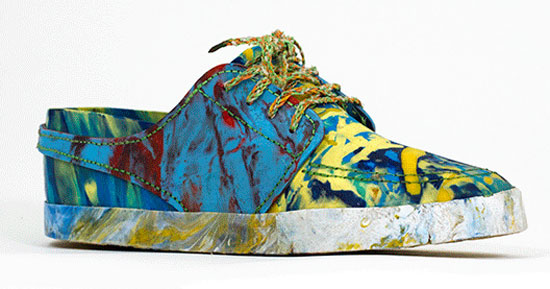 Stylish sneakers made from trash