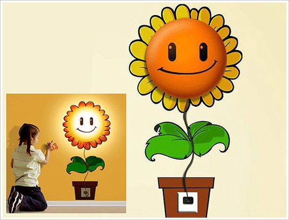 happysunflowerwalllamp2 Happy Sunflower Wall Lamp   dont just light up your room, brighten it up as well