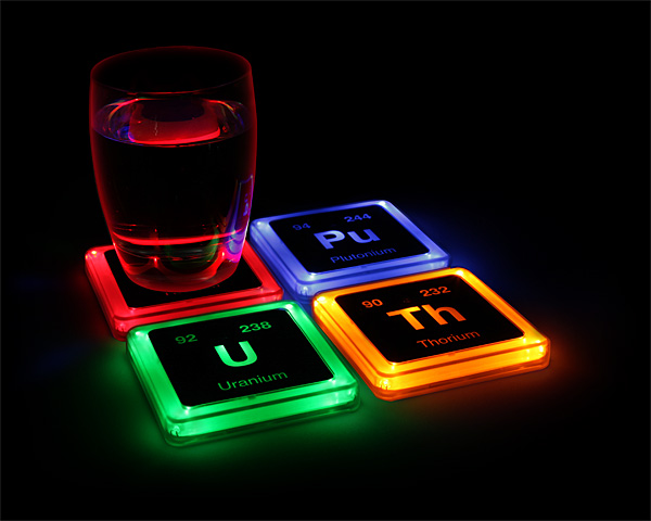 Radioactive Elements Glowing Coasters – adds an element of hysteria to your party