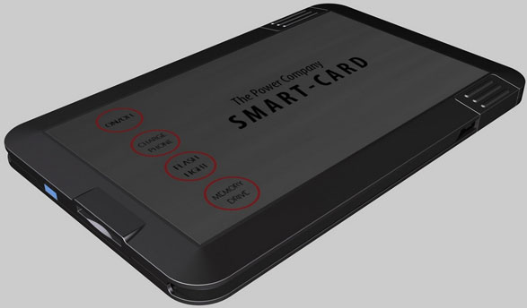 smartcard2 Smart Card   wallet sized charger, GPS tracker, card reader, portable hard drive, SOS alert...did we miss anything?