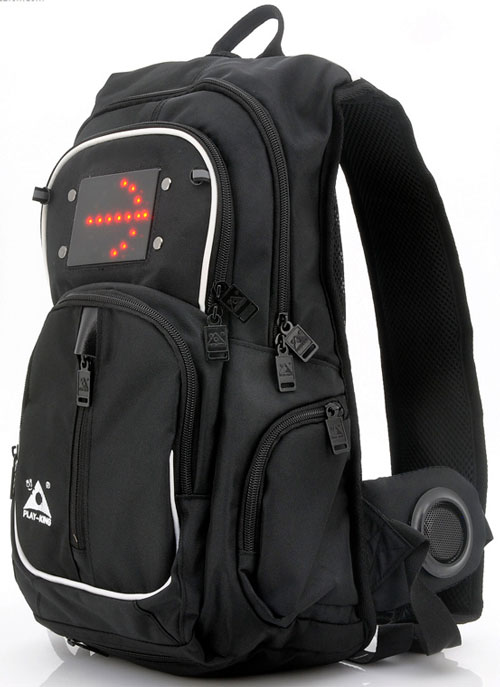 Play King Backpack – stereo speakers and turn indicators, just perfect for One Direction perhaps?