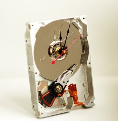 Hand Made Hard Drive Desk Clock – give new life to an old hard drive and flaunt your geek