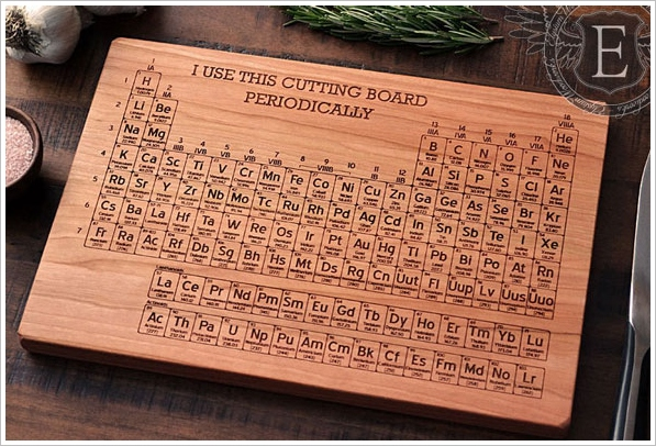 Hand Carved Periodic Table Cutting Board – show off your geek chops in the kitchen
