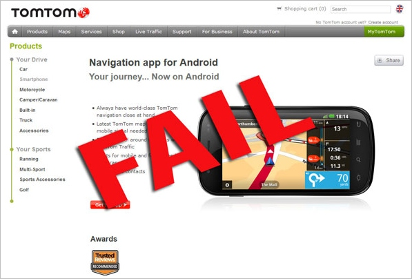 TomTom GPS App For Android FAIL – offline navigation app that is supposed to work offline does not: DO NOT BUY THIS APP