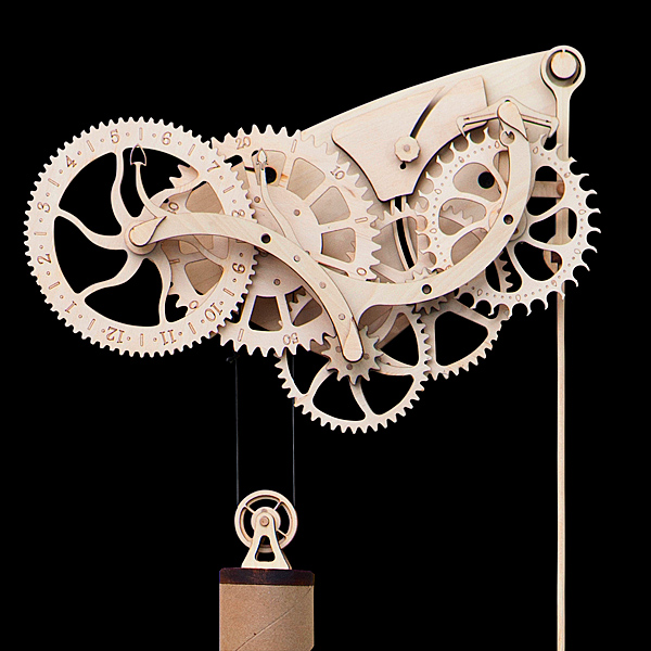 Wooden Mechanical Clock Kit – steampunk inspired DIY clock for the time enthusiast