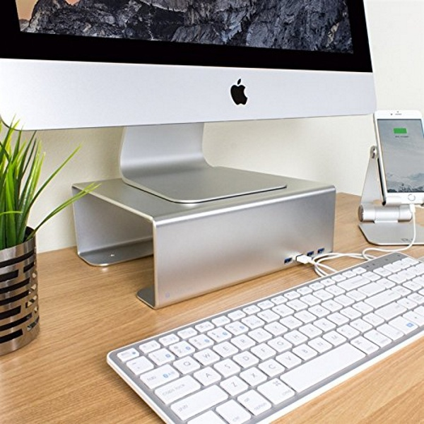 Satechi Premium Aluminum Monitor Stand in use