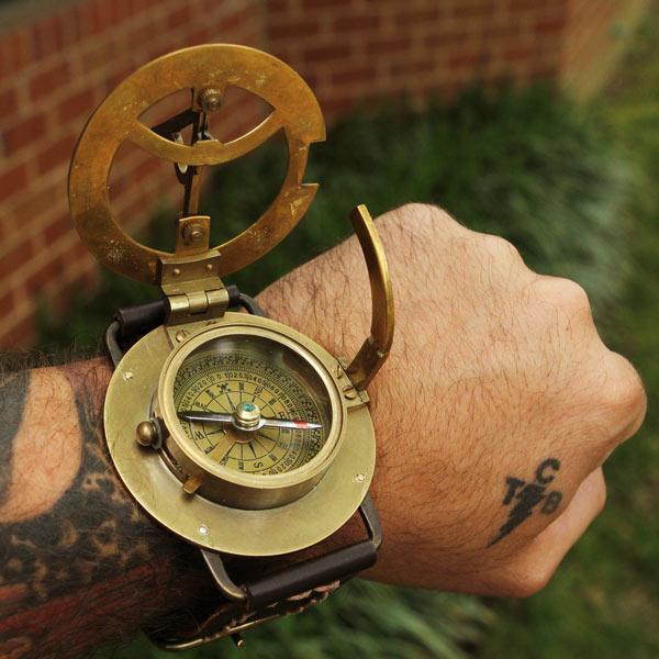 Navitron Steampunk Wrist Compass and Sundial – productivity like it's 99 BC