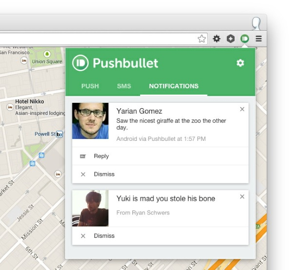 Pushbullet browser extension