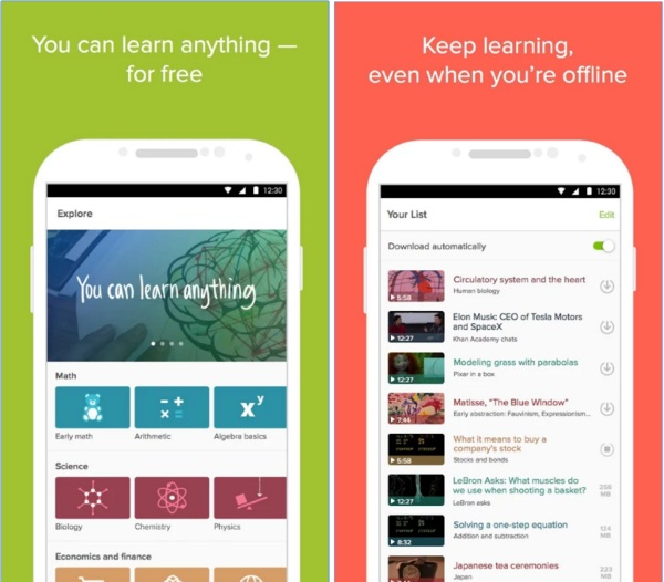 Kahn Academy App – brush up on your academics right from your phone