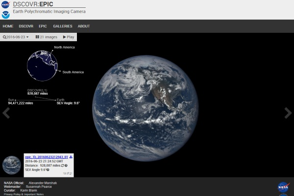 DSCOVR:EPIC – check out the Earth in real time