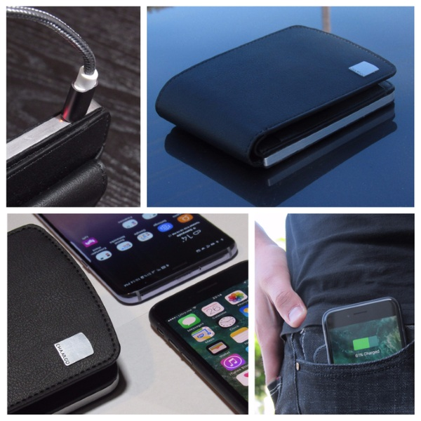 CHAARGO – put your phone ton top of this wallet to charge it up
