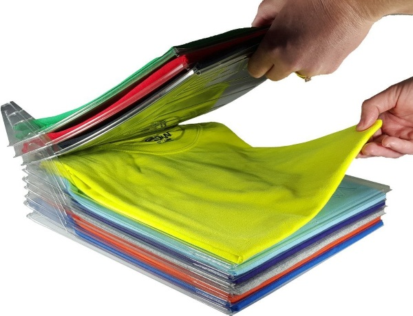Closet Organizer and Shirt Folder – this handy device keeps your laundry sorted after you put it away