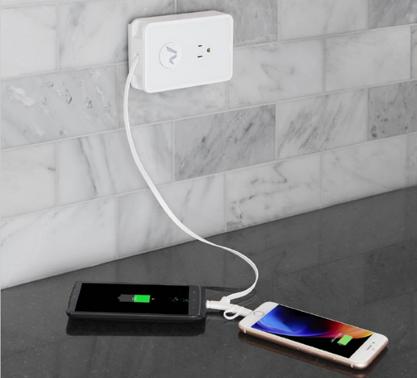 Smartphone Cord Retracting Charger Outlet – always have a cord when you need it