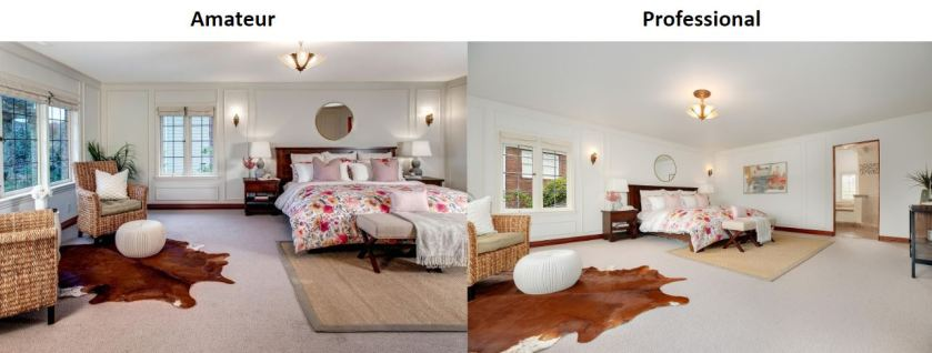Master bedroom listing photos side by side