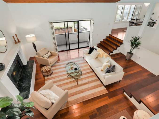 Aerial view living room layout