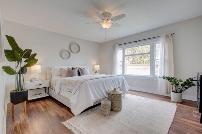 organized bedroom white bedding